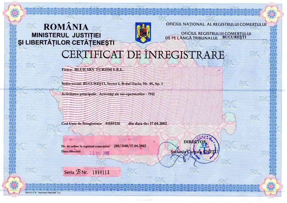 Certificat inregistrare Blue Sky Turism