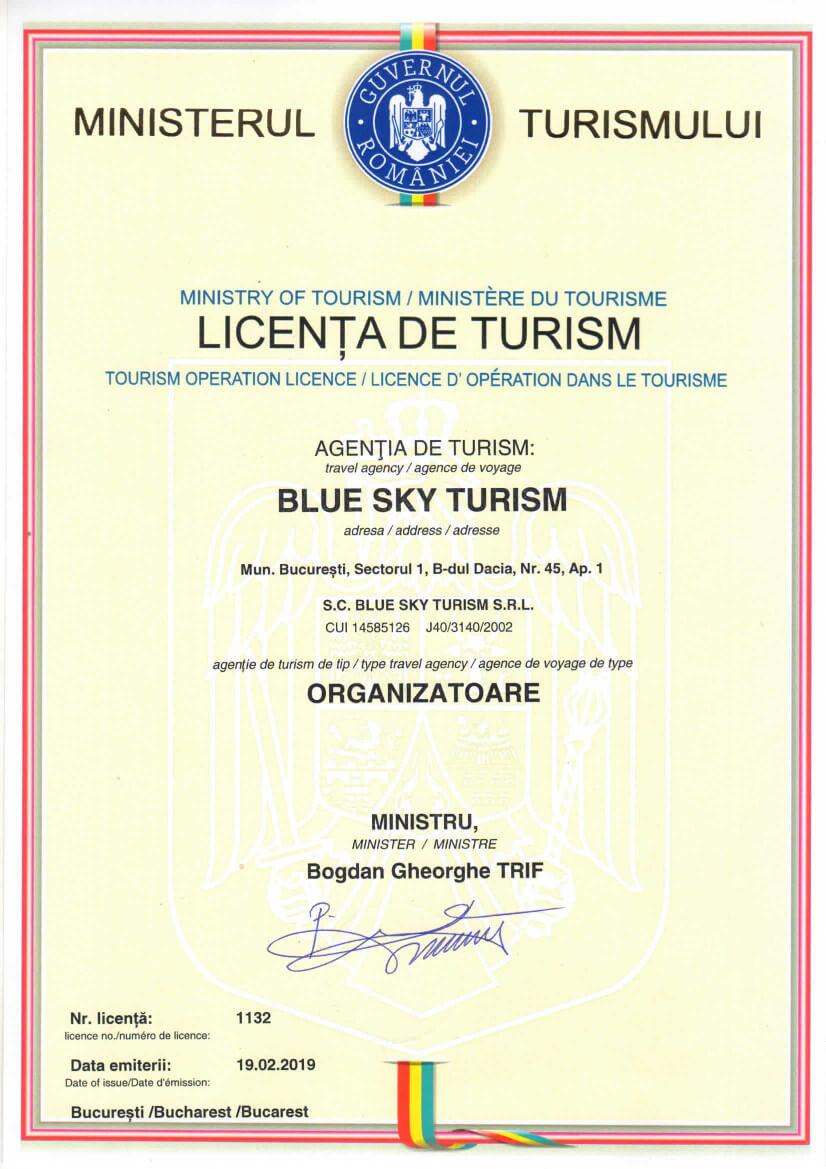 Licenta Blue Sky Turism